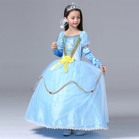 Snow Queen Elsa Dress Children Kids New Christmas Cosplay Costume Blue Ice Toddler Girls Anna Princess
