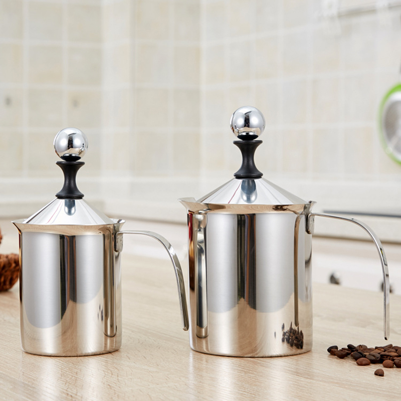 Stainless Steel Manual Milk Frother Handheld Milk Frothing Pitchers Manual Operated Milk Foam Maker For Coffee Latte 400ML 800ML in Coffee Pots from Home Garden