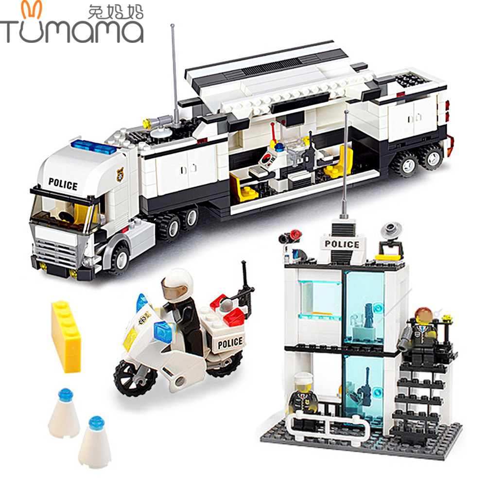 Tumama Police Station Blocks 511pcs Car Truck Building Bricks Educational Action & Toy Figures City Toy For Children Playmobil 6727 city street police station car truck building blocks bricks educational toys for children gift christmas legoings 511pcs