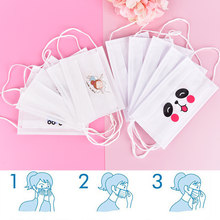 20PCS/10PCS/5PCS/1PCS White Disposable Face Mask Non Woven Earloop Anti-Dust Flu Cute Catoon Respirator Outdoor Mouth Mask(China)