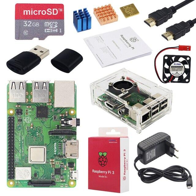 Оригинальный Raspberry Pi 3 Модель B + плюс Великобритании сделано комплект дюймов 3,5 дюймов сенсорный экран Чехол мощность 32 ГБ SD HDMI радиатора USB к...