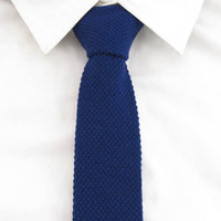 Gravata de lã marinha Sólidos Magro plana dos homens gravata Para Os Homens de lazer laços de malha Acessórios Do Partido Presentes de Natal de luz marinha Gravata