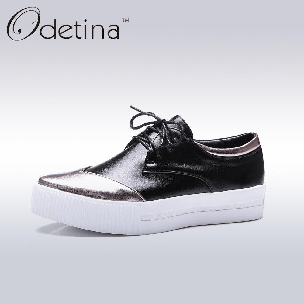 Odetina Fashion Patchwork Ladies Round Toe Platform Shoes Women 2017 Big Size Lace Up Casual Shoes Non-slip Comfortable Flats mcckle 2017 fashion woman shoes flat women platform round toe lace up ladies office black casual comfortable spring