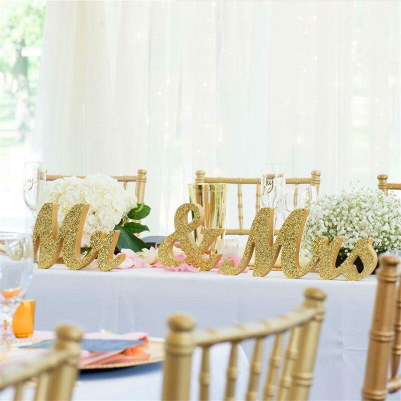 Large Sparkling Mr And Mrs Set Wedding Decorations Ideas Gold ...
