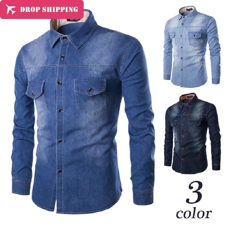 Drop ShippingCamisas Mäns Casual Clothing Märke Slim Solid Color - Herrkläder