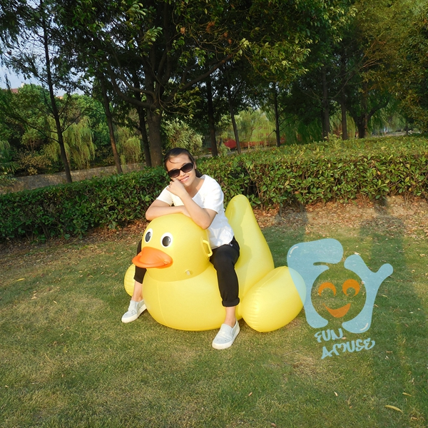 Inflatable Yellow Duck Inflatable Ride On Pool Toys Swimming Floats Fun Water Raft Mattress Boia