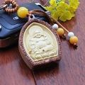 1pc High-grade rosewood Buddha carved Keychain car key pendant Buddhist Lucky women bag purse ornaments charms keyring On Sale