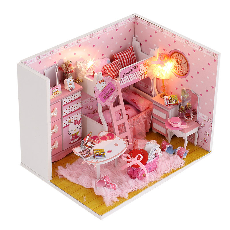 3D Handmade Doll House Furniture Miniatura Diy Hello Kitty Miniature Dollhouse Wooden Toys For Children Grownups Birthday Gift