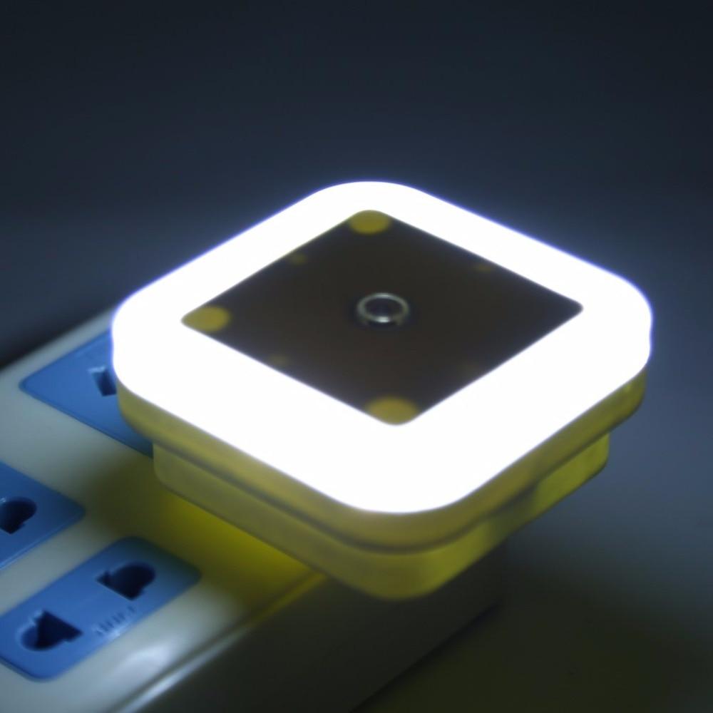0.5W White AC 110V-250V US Plug Lamp Night Light Control Auto Sensor Baby Bedroom Lamp Mini Smart LED Light Night Light Square