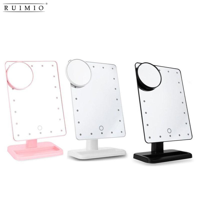 Ruimio rectangular 20 led lighted vanity mirror touch screen battery ruimio rectangular 20 led lighted vanity mirror touch screen battery powered makeup mirrors portable compact tabletop aloadofball Images