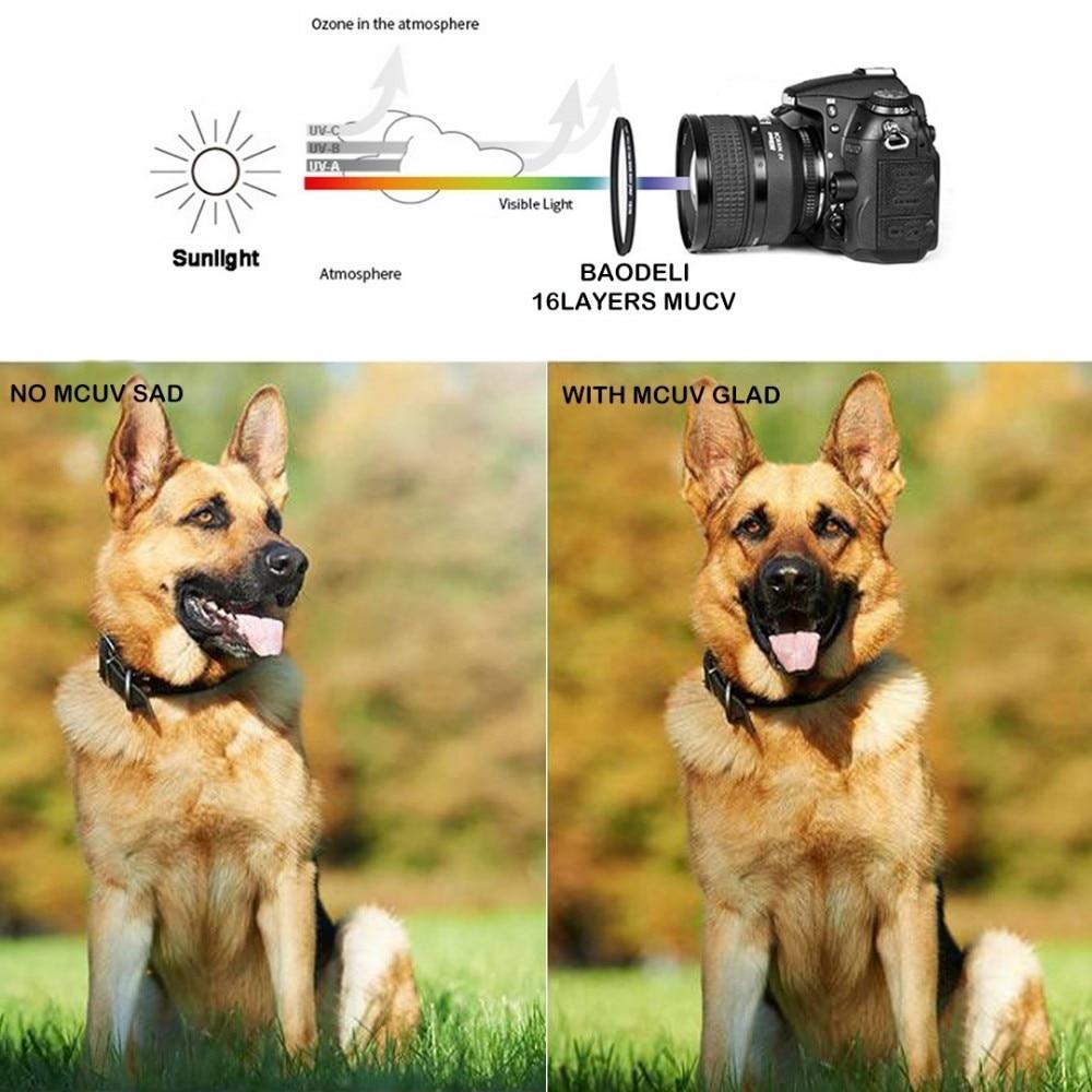 """מוצרי חשמל לבית BAODELI MRC Filtro16 שכבות Mcuv מסנן קונספט 49 52 55 58 62 72 77 82 אביזרים מ""""מ מצלמה Canon M50 Nikon Sony A6000 (5)"""