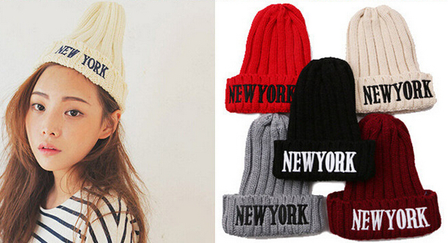 Wholesale New York Beanie hat, wool winter knitted caps crochet hats for man and women hip hop Skullies warm knitting Beanies fashion crochet flower hat cap wool knitted hats for women skullies caps for the old lady s women gorros de lana