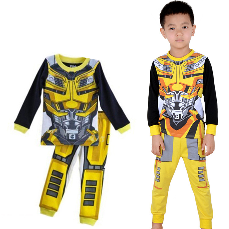 Transformer Printed Pattern Kids Set Pajamas Set Boys Sleepwear Boys Clothes Kids Tiny Cottons Long Sleeve Top Boy Pants 6 Years lovely spring pure cotton thomas and friends children clothing long sleeve tops pants for 2 7 years boy kids pajamas sleepwear