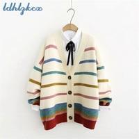 LDHTZKCX Beige Striped Lantern Long sleeved Cotton Sweaters Women 2018 Autumn winter Sweet Single Breasted V Neck Sweaters CX469