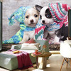 Custom 3D Large Mural Two Cute Puppies With Wool Hat Papel De Parede Living Room Sofa