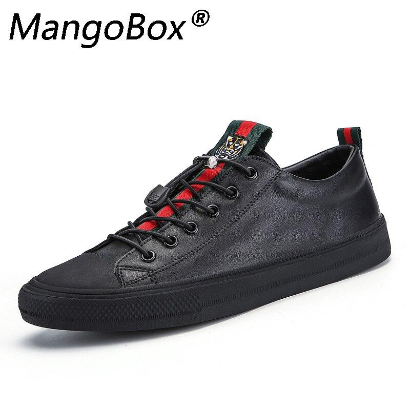 Marque printemps été hommes en cuir chaussures de mode noir blanc mâle plat Split chaussures en cuir confortable homme décontracté chaussures baskets