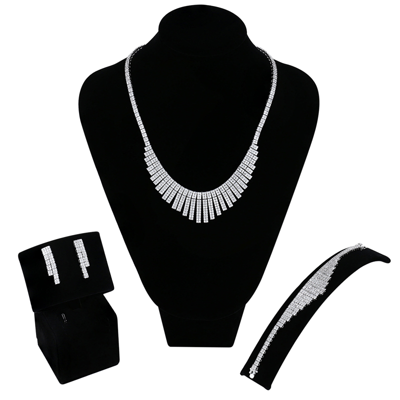 Luxury Women bridal Jewelry Sets setting Cubic zircon 4pcs sets ( necklace + bracelet + earrings + ring) free drop shippingLuxury Women bridal Jewelry Sets setting Cubic zircon 4pcs sets ( necklace + bracelet + earrings + ring) free drop shipping