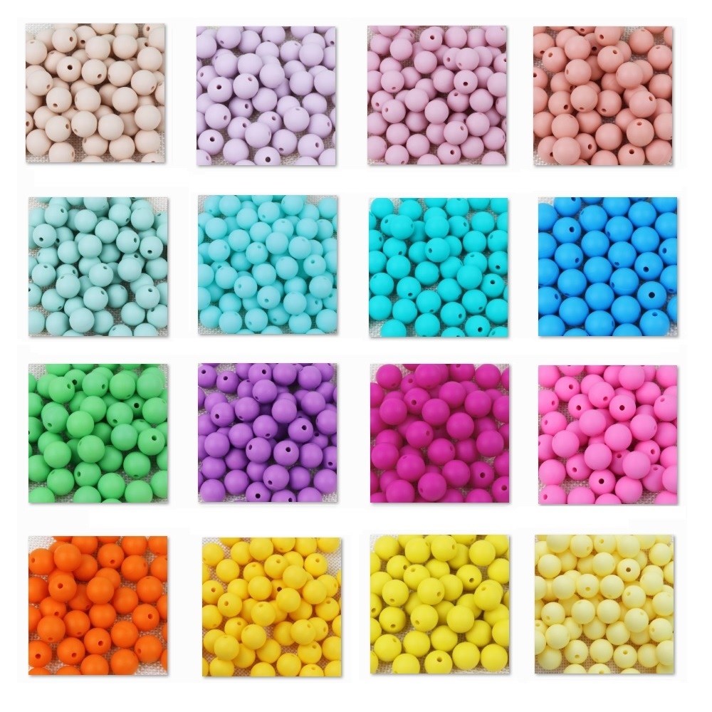 TYRY.HU 50Pcs Silicone Teething Bead Baby Chewable Pacifier Clips Beads Food Grade Silicone BPA FREE Baby Teething Toy 12mm Bead