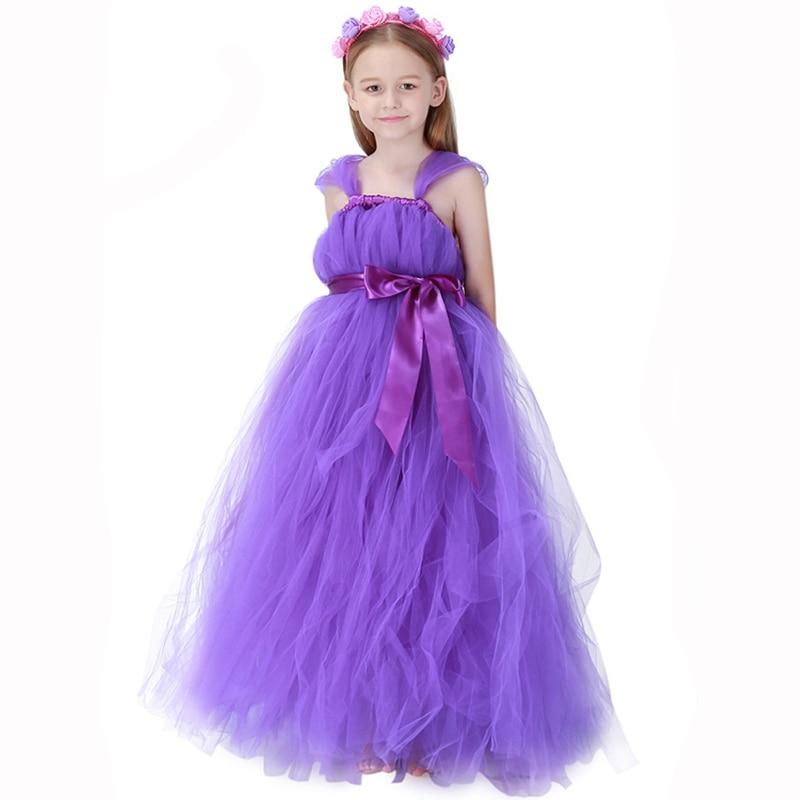 Purple Mesh Party Wedding Cute Flower Girl Princess Dress Kid Cosplay Flower Fairy Costume Sweet Halloween Costumes For Children