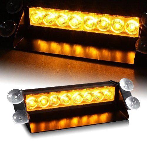 CYAN SOIL BAY 8 LED Amber Yellow Emergency Vehicle Car Strobe Flashing Light Warning Dash