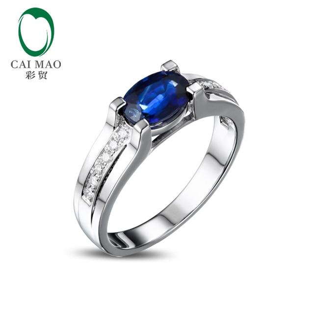 52b15a900740 14 k Oro Blanco Oval Shape Zafiro Corte Redondo 1.12ct Anillo de Diamantes  de Los