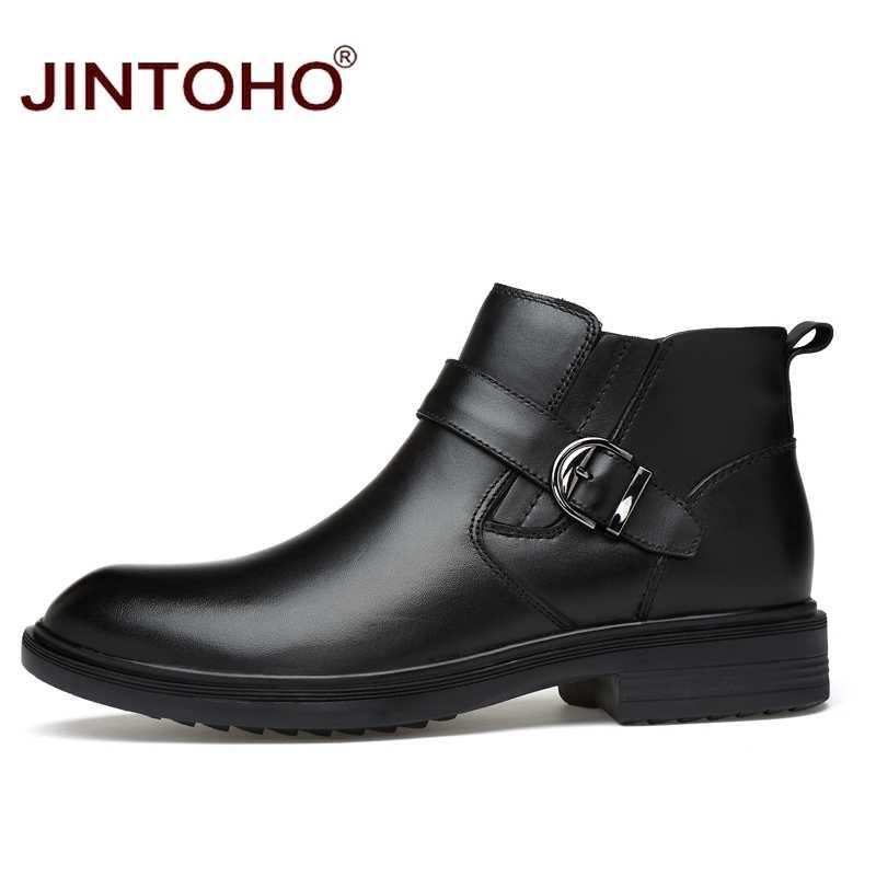 f2922a1df257 ... JINTOHO 2017 Высокое качество Натуральная кожа зимняя мужская обувь  ботильоны кожаные ботинки теплые зимние мужские ботинки ...