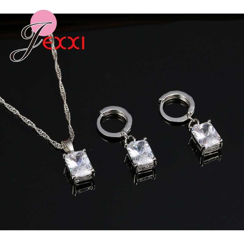 Beste Verkauf Frauen Partei Schmuck Sets Weihnachten Geschenk 925 Sterling Silber Platz Kristall Halskette Ohrringe für Hochzeit
