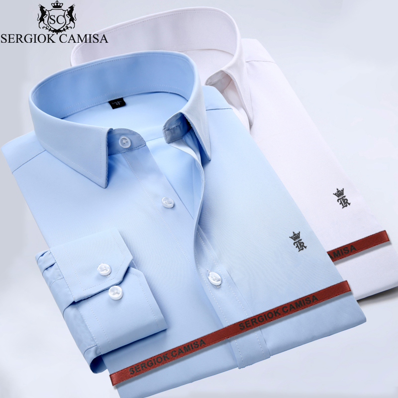 Sergio K Camisa Men Shirt Male Casual Long Sleeved shirt Slim Fit Male Social Business D ...