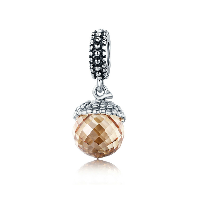 Authentic 925 Sterling Silver Pendant Filbert Nut Shape Brown Crystal Charm fit Bracelet & Necklace DIY Jewelry SCC584