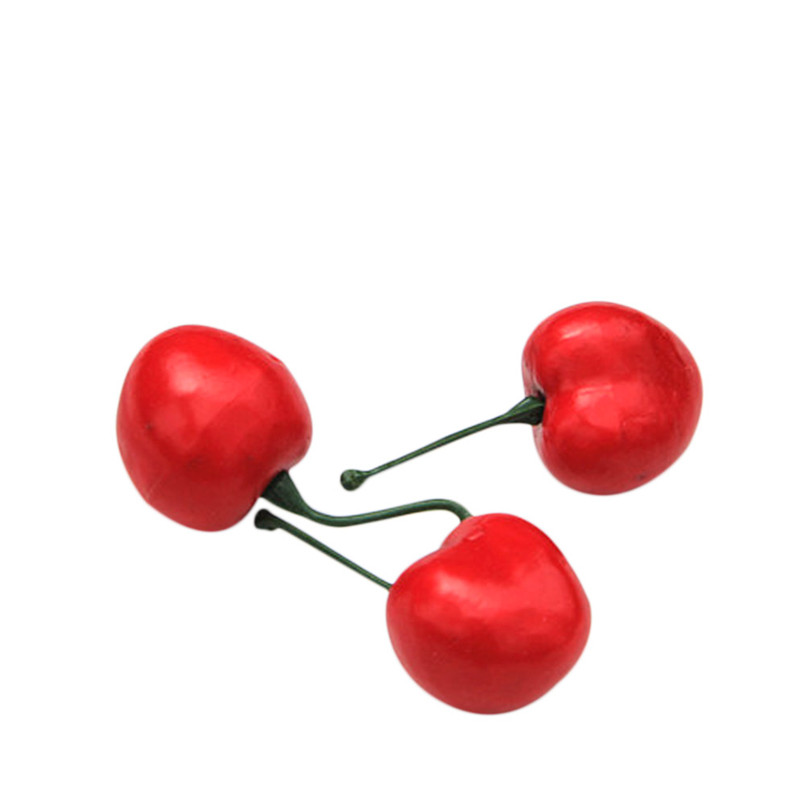 50pcs Artificial Fruits For Home Decoration Lifelike Plastic Cherry Fake Cherry For Party barato adornos para cocina 40JULY09(China)