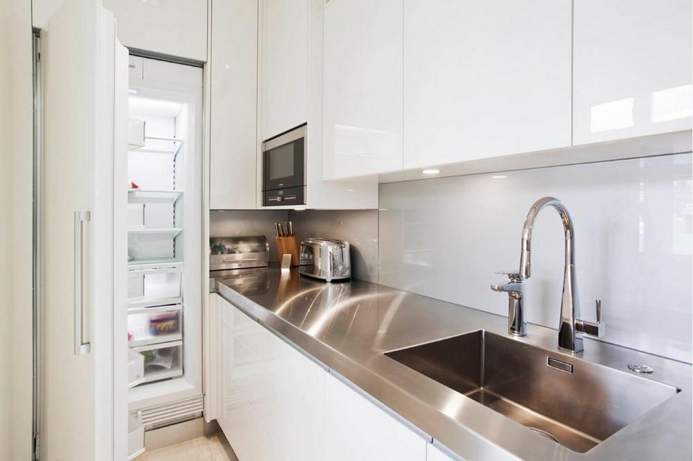 2017 современные глянцевые белые лаковые кухонные шкафы с островным шкафом под заказ кухонная мебель L1606037
