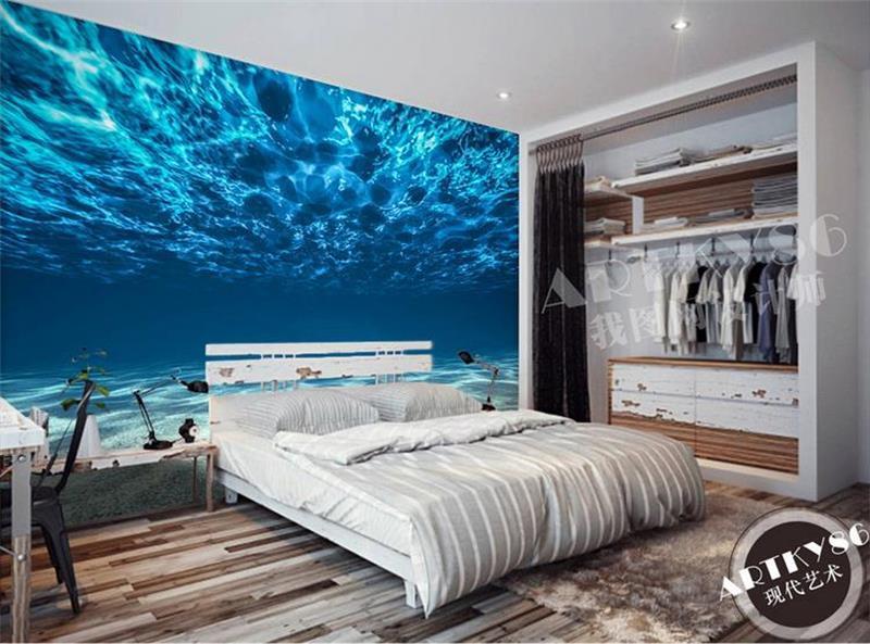3d room wallpaper custom murals non woven wall sticker dark blue sea