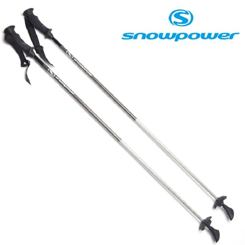 SNOWPOWER Pro Ski Snow <font><b>Poles</b></font> Carbon Fiber <font><b>Sticks</b></font> Walking Alpenstock For Snowboard Hiling <font><b>Trekking</b></font> Aluminumi alloy