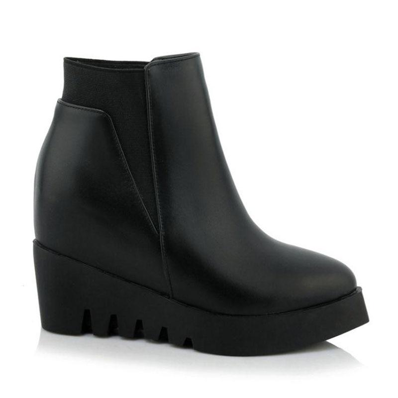 Punk Lebaluka black Las Punta Calzado Mujeres Sexy Para Botas De 40 Genuino Zapatos Tamaño 2 Tobillo Plataforma Cuñas 1 Black Cuero Invierno 34 AFAr6nwq1