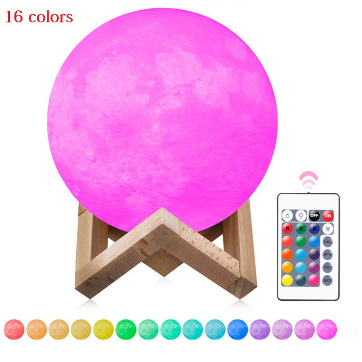 Chiclits LED Moon Lamp 3D USB Magical Moon Night Light 10CM Table Touch Sensor Color Changing Home Bedroom Decoraction Kid Gifts magnetic floating levitation 3d print moon lamp led night light 2 color auto change moon light home decor creative birthday gift