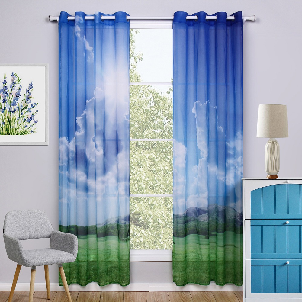 Colorful Living Room Curtains: Blue Window Curtain Living Room Printed Colorful Kids
