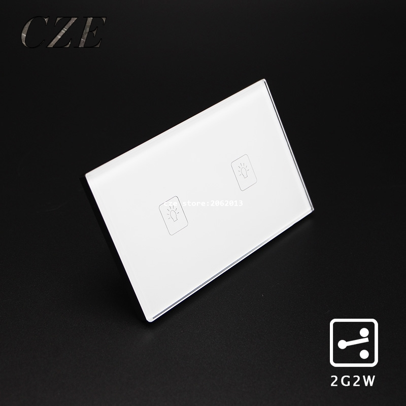 US/AU Standard 2 Gangs 2 Way Touch Switch Wall Light Controller Smart Home Automation Crystal Glass Panel cnskou us au standard touch switch 2gang2way screen wall light switches white crystal glass panel smart home automation