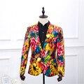 De Calidad superior Original Impreso Diseño de Moda Para Hombre Vestido de Cuero de La Pu chaqueta de La Chaqueta De Corea Slim Fit de Los Hombres Más El Tamaño Floral Blazers