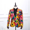 Top Quality Original Printed Design Fashion Mens Pu Leather Dress Blazer Jacket For Korean Slim Fit Men Plus Size Floral Blazers