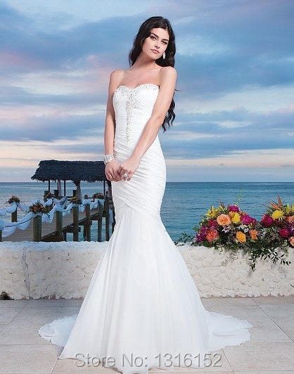 BOODIYAAN mermaid wedding dress v neck Court Train shoulder fold ...