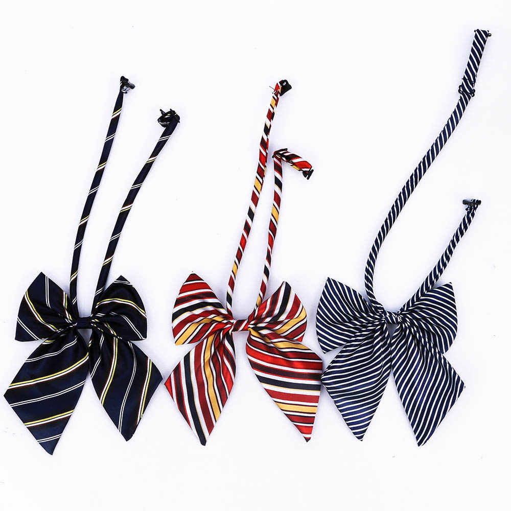 Hot Sale Bow Tie For Women High School Girl Student Cosplay Uniform Formal Suit Accessories Cravat Butterfly Knot Striped Blue