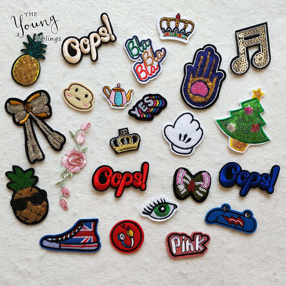 High quality letter pineapple christmas trees follwer Iron On Cartoon Patches DIY embroidery applique clothing Accessory