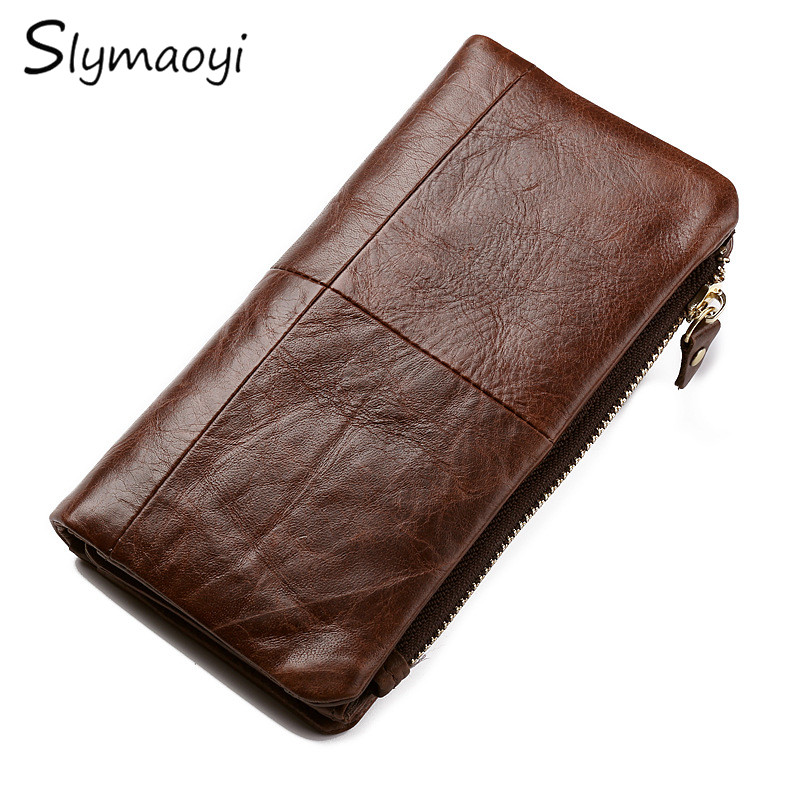 Slymaoyi Retro Luxury Genuine Leather Wallets High Quality Brand Design Zipper Wallet Multifunction Men Purses for Card Holder free shipping new high quality men wallets genuine leather wallet fashion design large capacity men purses wallets card holder