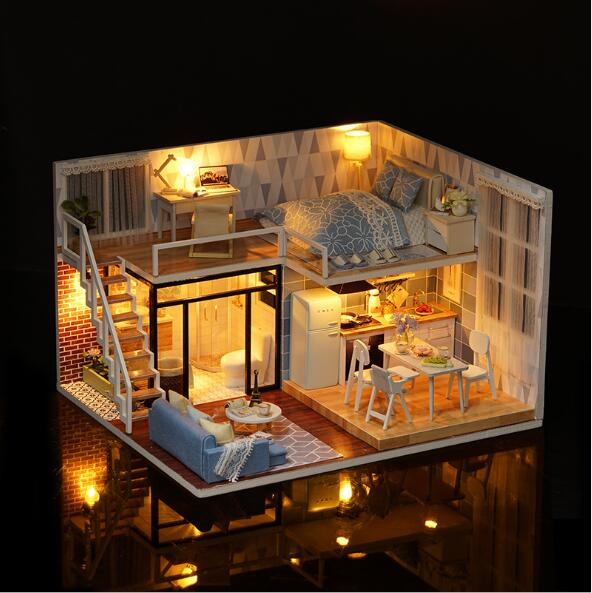 L023 grand bricolage maison de poupée jouets pour enfants casa en bois Miniatura maisons de poupée Miniature maison de poupée jouet cadeau d'anniversaire