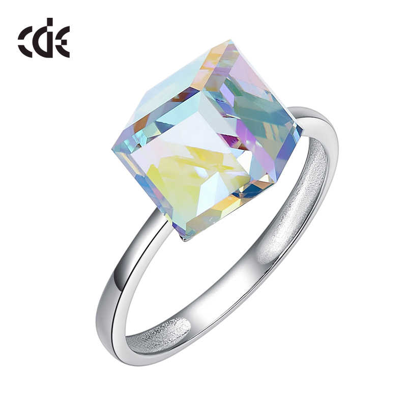 c608b2552 ... Cdyle Crystals from Swarovski Luxury Ring Austrian Rhinestone Fashion  Romantic Anniversary Cube Shape Engagement Women Jewelry ...