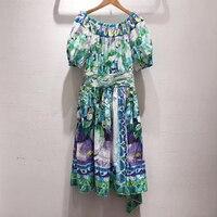 Women Long Dress Elegant 2019 Print Short Sleeve Casual A line Dress Retro Women Slash Neck Cotton Dresses