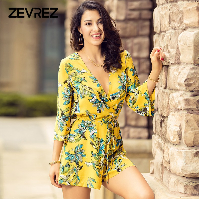 17ca684d17 Online Shop Casual Women Print Floral Playsuits Yellow Chiffon Elegant  Jumpsuit Summer Beach Playsuit Female Sexy Deep V Neck Short Overalls