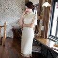 Autum Винтаж Улучшенная Китайский Платья Мандарин Воротник Искусство Ретро Белое Кружево Небольшой Платье Женщины Vestidos Де Renda 1003