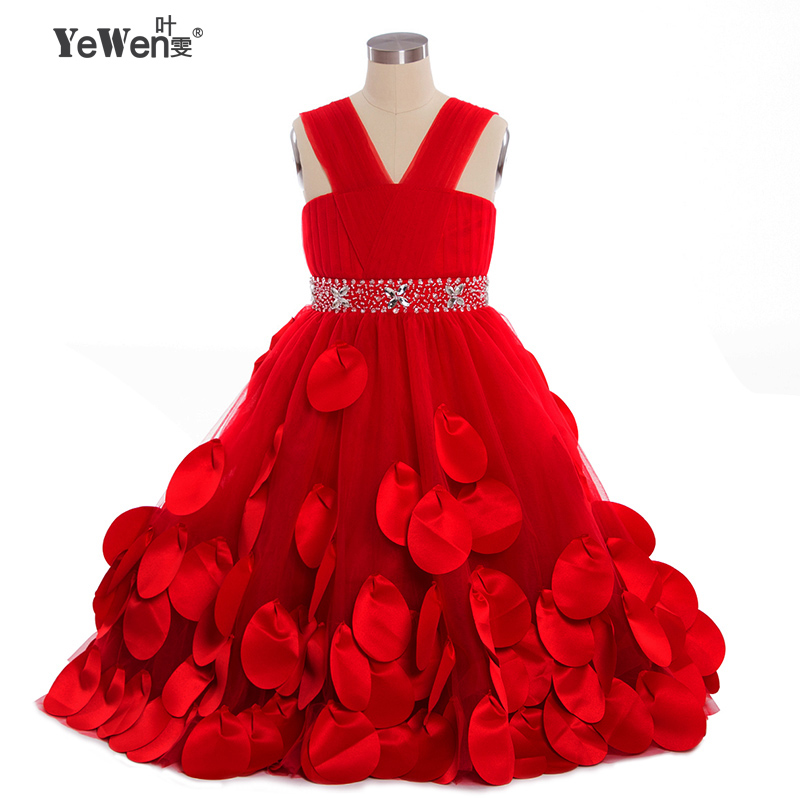 YeWen Princess Ball Gown red   Flower     Girls     Dresses   for Weddings and Party 2018 tulle Custom First Communion   Dress   Gown Children