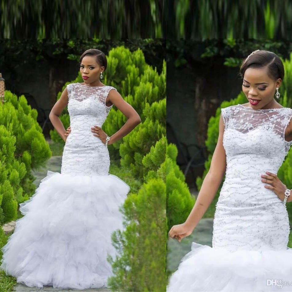 Vintage Black Wedding Dresses: Luxury Beaded Corset Lace Wedding Dresses For Black Girl